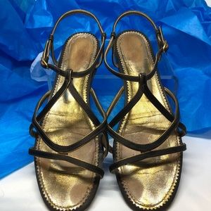 Yves St Laurent Briwn & Gold Strappy Flat Sandals
